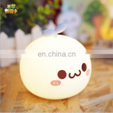 cartoon cute bedside night light, silicone small night light ,7 color change led night light for baby