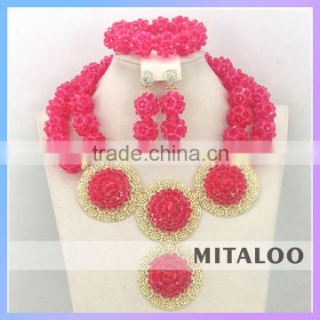 Mitaloo Mt0003 Pink Nigeria Beaded Jewelry Set Bridal Heavy Indian