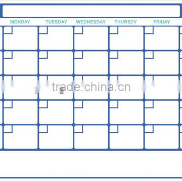 Removable weekly planner whiteboard sticker
