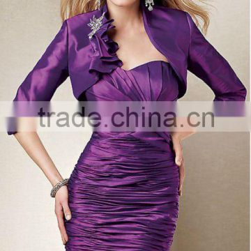 Free shipping sweetheart purple ruched long sleeve knee length custom-made mother of the bride dress CWFam4662