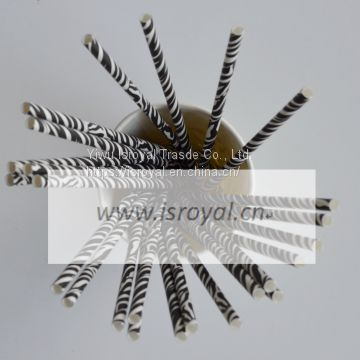 paper straw in blue stripes decorated paper straw 25pcs per bag
