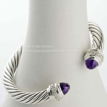 Sterling Silver 7mm Cable Amethyst Silver Ice Cuff  Bracelet