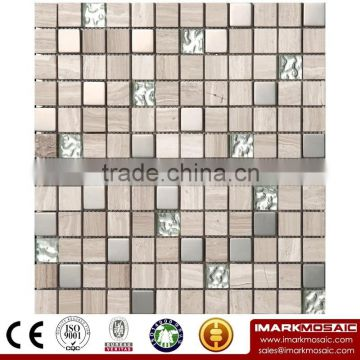 IMARK Mixed Color Crystal Glass Mosaic Tiles and Marble Mosaic Tiles for Wall Decoration Code IXGM8-049