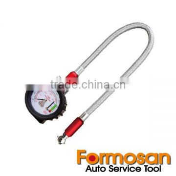 2-In-1 Deluxe Extension Hose Tire Pressure Gauge with Thread