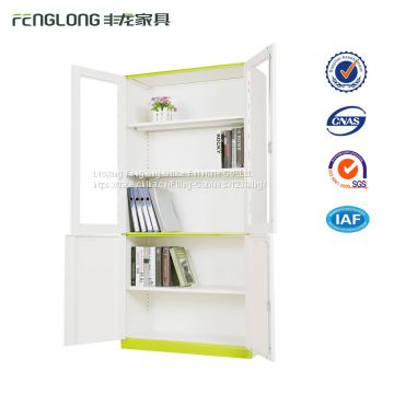 Stainless steel filing cabinet with new thin edge design 2 glass doors file cabinet