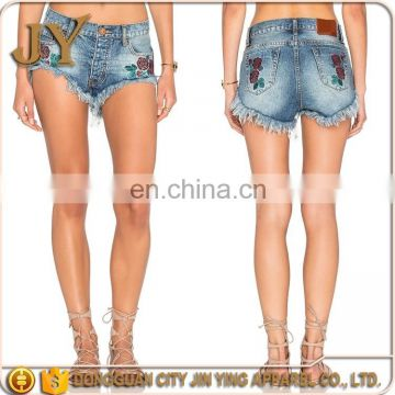 fff4bf8350 Sexy Sport Wear Tops And Jeans Photos Embroidered Rose Shorts Women of OEM  Pants & Shorts from China Suppliers - 158092626