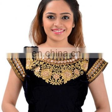 Designer Embroidered Mirror Work Black Velvet Blouse for women