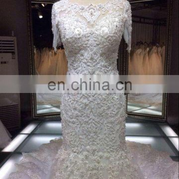 Heavy beaded royal luxurious heavy beaded Cathedral train new western wedding dress bridal gown wholesale