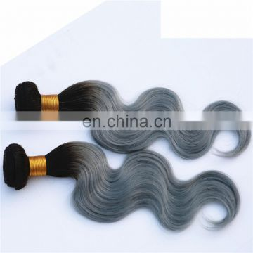 colored two tone ombre blonde and 1b-grey body wave virgin human hair weaving bundles with lace closure