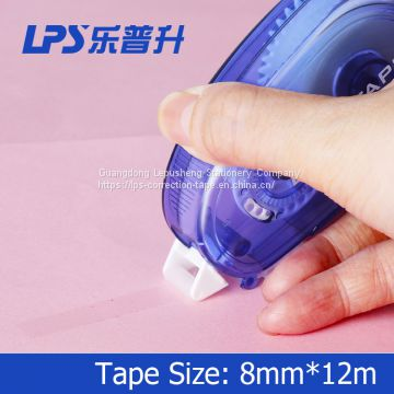 8mm*12m Plastic PET Two Sided Glue Tape Roller Office Sticky Roller Glue Tape with Easy Touch Cap