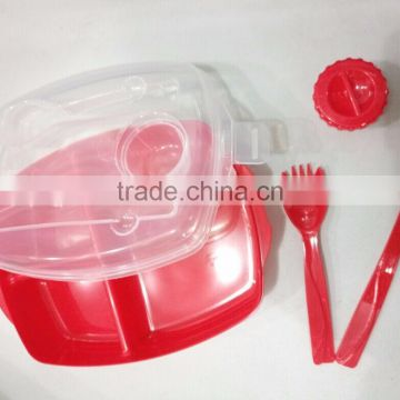 plastic lunch box food storage container with fork and knives