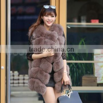 CN-R-6 Style fashion real fox fur outwear hot sale fox fur vest for ladies vintage classic
