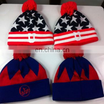 Factory Direct Custom winter hats beanie with client's Brand Hang On