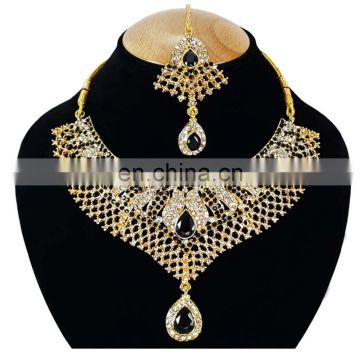Wedding Collection Kundan Black Stone Color Gold Plated Zerconic Necklace Earrings Tikka