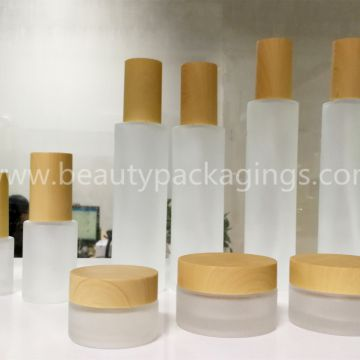 In-stock Frost Glass Liquid Cosmetic Bottles And Face Cream Jars