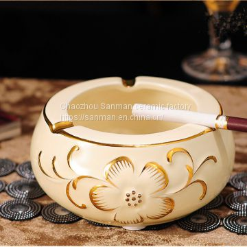 China factory hand painted golden design ceramic 4 pcs luxury round shape spic jar with ceramic plate saucer in kitchen