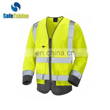 Hot selling safety high visibility custom long sleeve vest