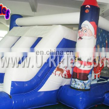 White house jumping christmas inflatable snowman toy playground for kids