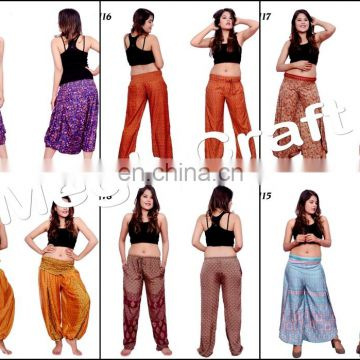 Dresses Rayon Elastic Waist Boho Clothing - Beach Wear Women Baggy Casual trouser pants- Floral Wide Leg Palazzo Style Thai Pant