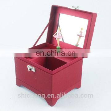 Square Hand Crank Ballerina Dancer Music Box with Mirror