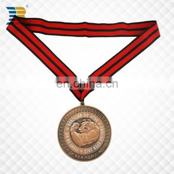 Brazil custom copper award jiu-jitsu medal with ribbon