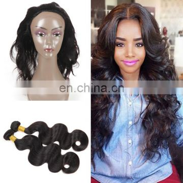 Factory wholesale price 100% virgin Brazilian hair 360 lace frontal with baby hair bundles