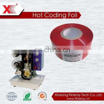 Black color applied for batch number coding machine 30mm*120m size FINERAY brand hot custom coding tape