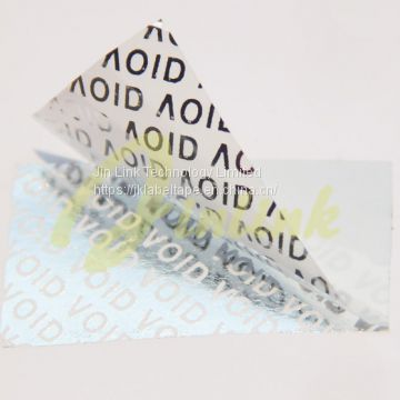 White Partial Transfer Anti-Tamper Security VOID Label Material,destructible sticker,printed security bags