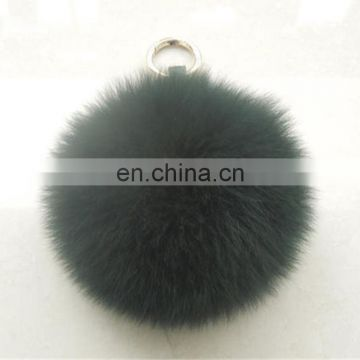 Dyed solid color large fox fur ball/bobble accessory pendant keychain