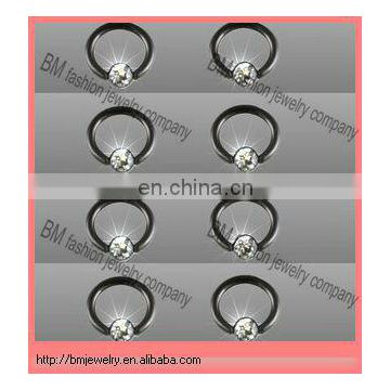 black wholesale titanium plated ball closure rings with gems nose ring lip ring earrings body piercing jewelry rings
