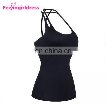 Fashionable Solid Black Vest Bamboo Yoga Clothing China Manufactures