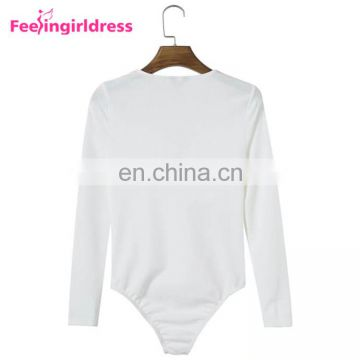 Ladies Long Sleeves White Knitting Swear Bodysuit Women Jumpsuits And Rompers