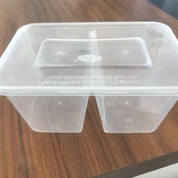 double compartments disposable food box for taking away food