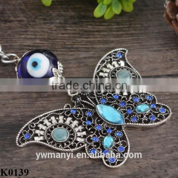 2016 New Trendy Blue Butterfly Keychain Cute Animal Crystal Butterfly Keychain Keyring Car Accessoires K0139