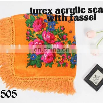 2017 Fashion Lady Scarf, lurex acrylic scarf with tassel, Printed Hijab, 100%Polyester square Scarf