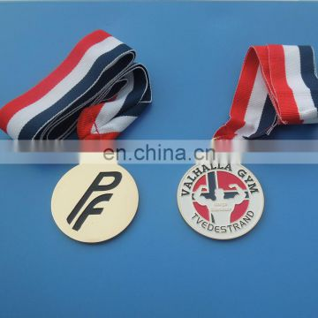 custom gold sports medal with ribbon medallion