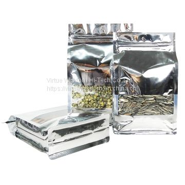 10 oz shiny silver moisture proof eight side gusset bags flat bottom flexible box pouch with clear window