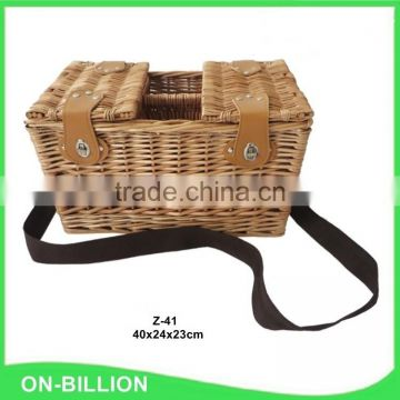 Cheap wine mini bulk wicker picnic basket for 2 person