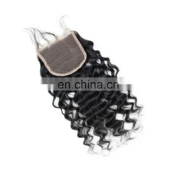 Cheap 100% INDIAN human virgin 9A grade natural hair lace closure in deep curly free part cuticle aligned hair