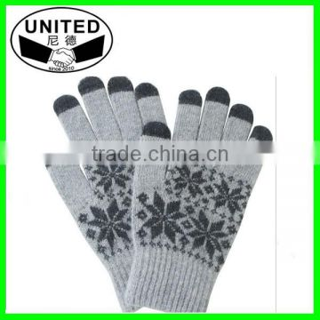 Wholesale acrylic knitted spandex custom magic winter gloves
