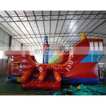 red pirate ship Aier inflatable slide outdoor slide red giant