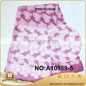 Best selling African Cupion Lace Fabrics With Stone Purple Color / African guipure lace fabric