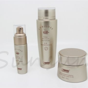 Golden Color Screw Cap Lotion Cosmetic Pump Spray Bottle and Jar