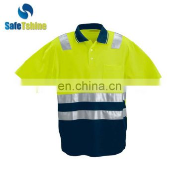 Professional manufacture yellow high visibility new design cheap hi vis work shirt