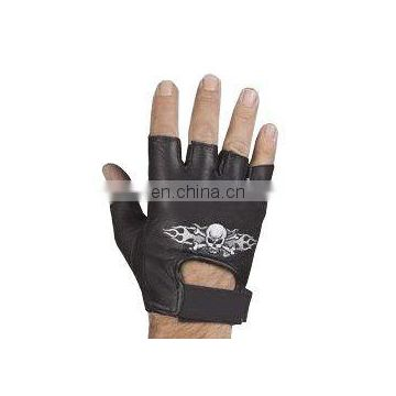 HMB-2015C LEATHER FINGERLESS GLOVES SKELETON EMBROIDED STYLE