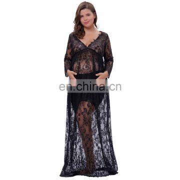 6ac2faf0e74ab ... Kate Kasin Maternity SexyDeep V-Neck Long Sleeve See-Through Black Lace  Maxi Long ...