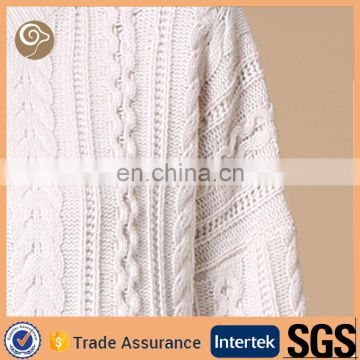 High neck cable wool sweater