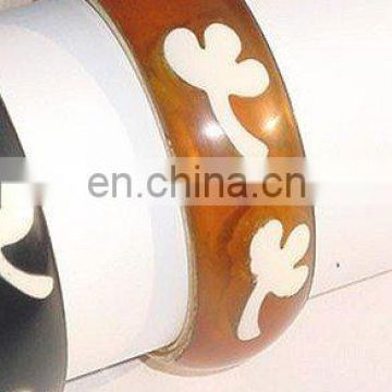 Clear Resin Bangle with embossed flower