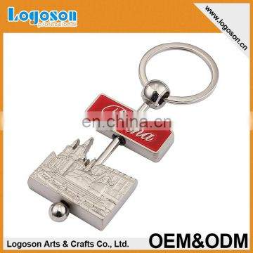 2015 newest high quality custom PRAHA metal spinning keychain