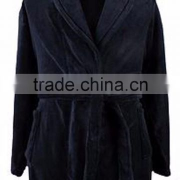 Wholesale Soft Warm Black Mens' Cotton Bathrobe